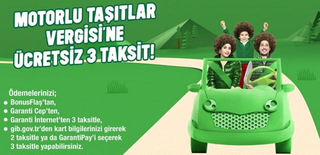 Motorlu Taşıtlar Vergisi Bonus Kredi Kartına 3 Taksit!