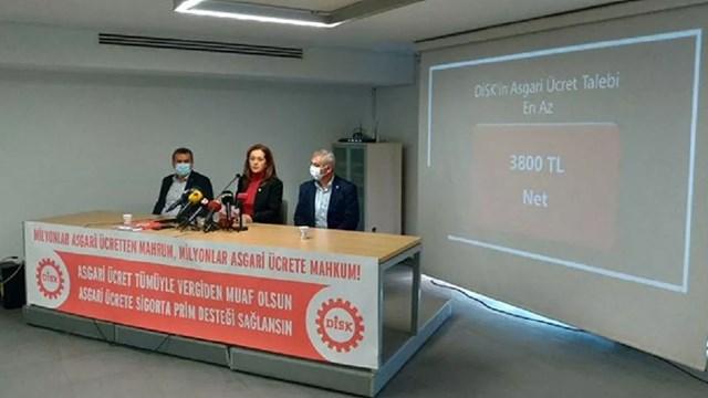 DİSK: Asgari ücret net 3 bin 800 lira olmalı